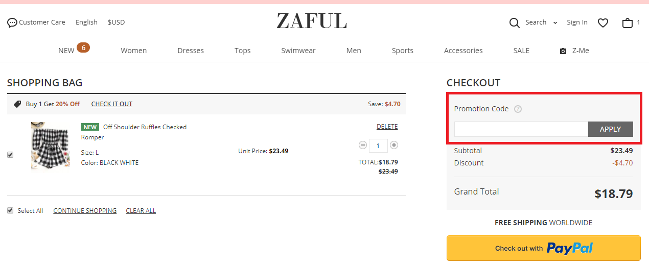 How to use a ZAFUL 促銷代碼