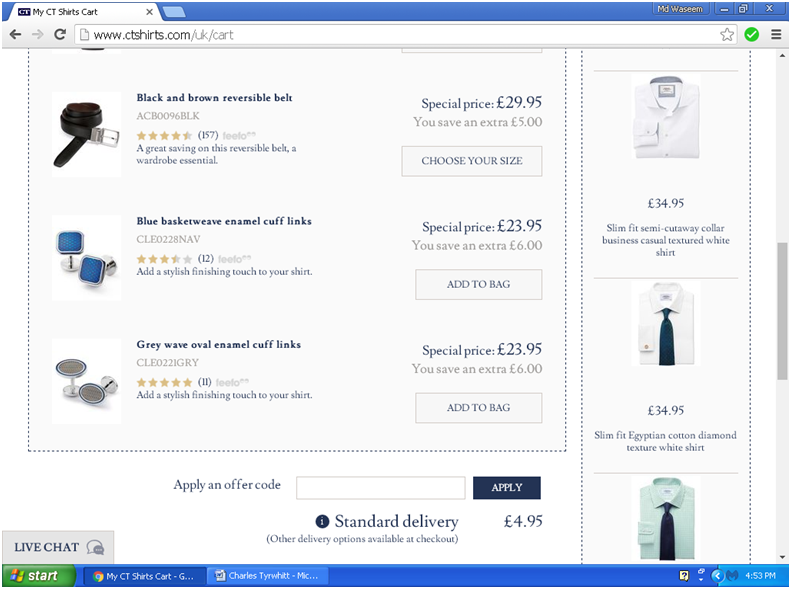 How to use a Charles Tyrwhitt coupon