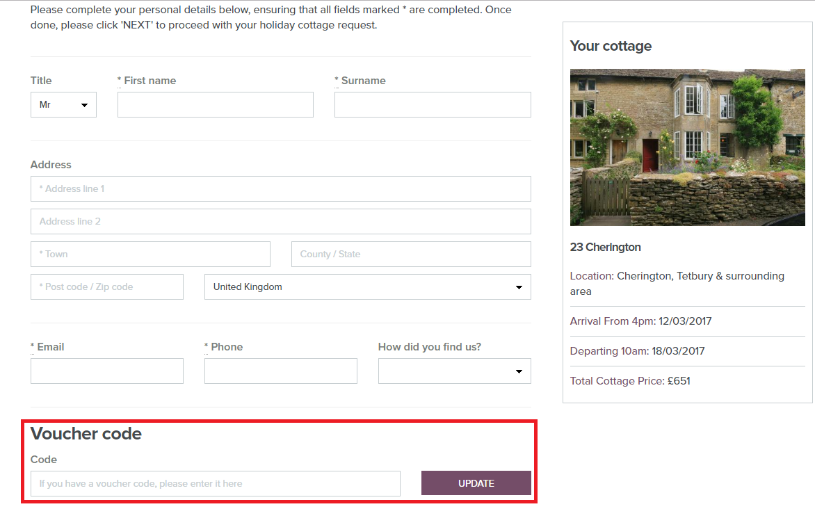How to use a Manor Cottages Voucher Codes