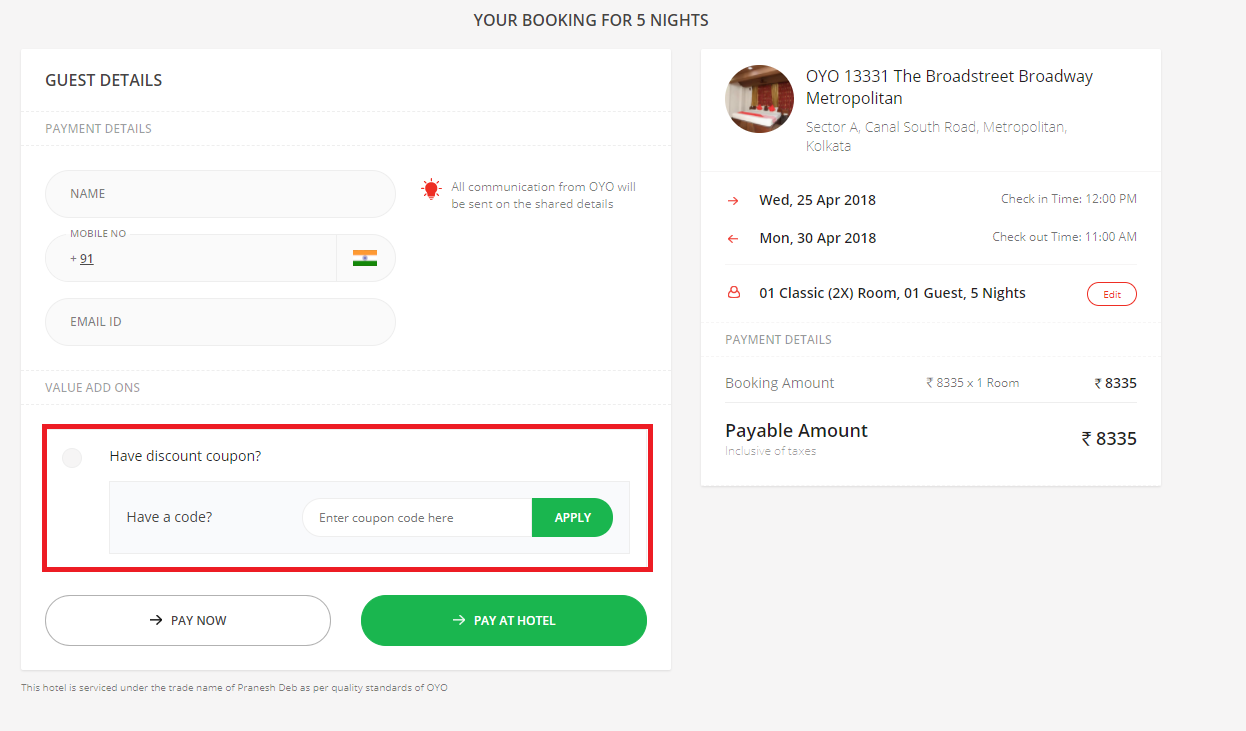 How to use a OyoRooms Coupon Code