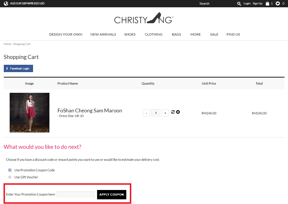 How to use a Christy Ng Voucher Code
