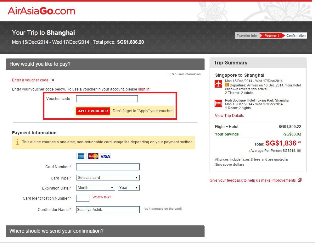How to use a AirAsiaGo Voucher Code