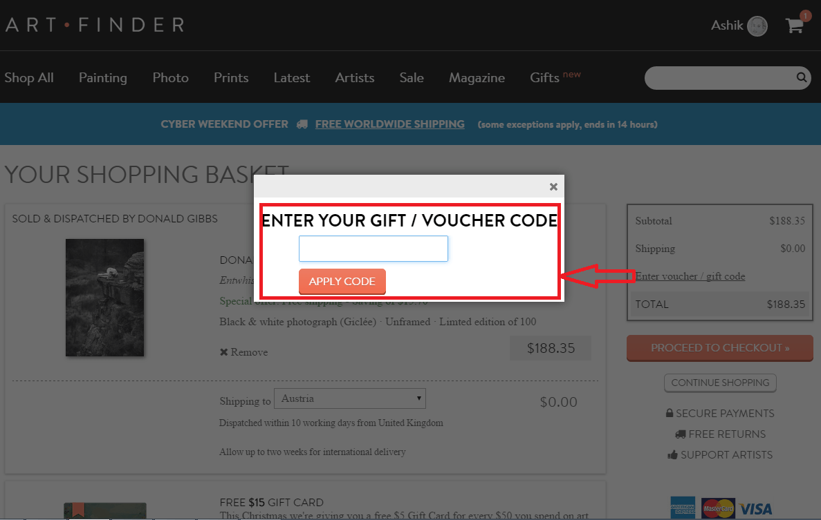 How to use a Art Finder Voucher Codes