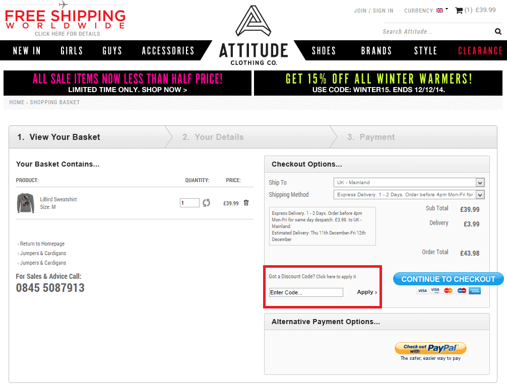 How to use a Attitude Clothing coupon