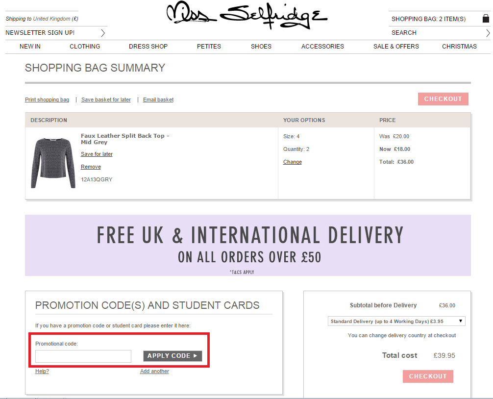 How to use a Miss Selfridge coupon