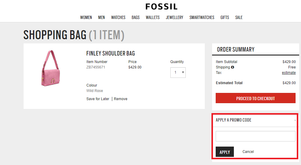 How to use a Fossil  Discount Codes