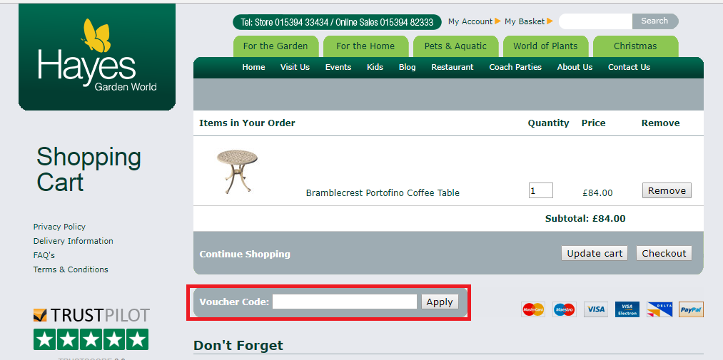 How to use a Hayes Garden World Voucher Codes