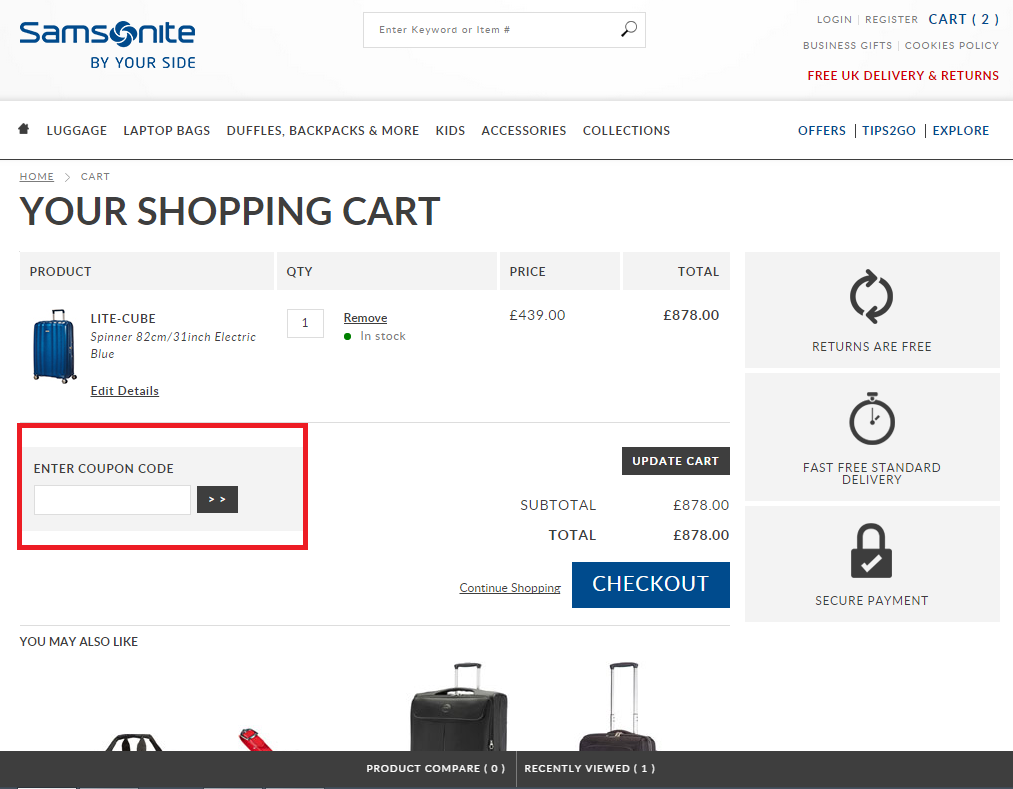 How to use a Samsonite UK coupon