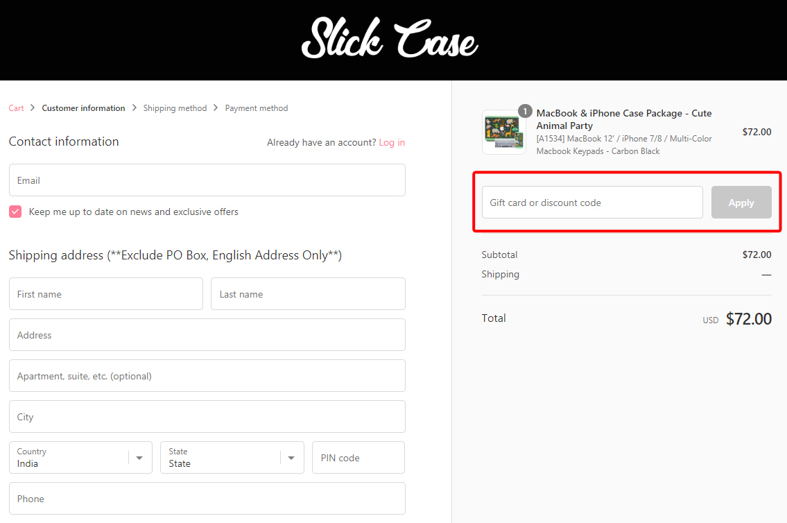 How to use a Slick Case Voucher Codes