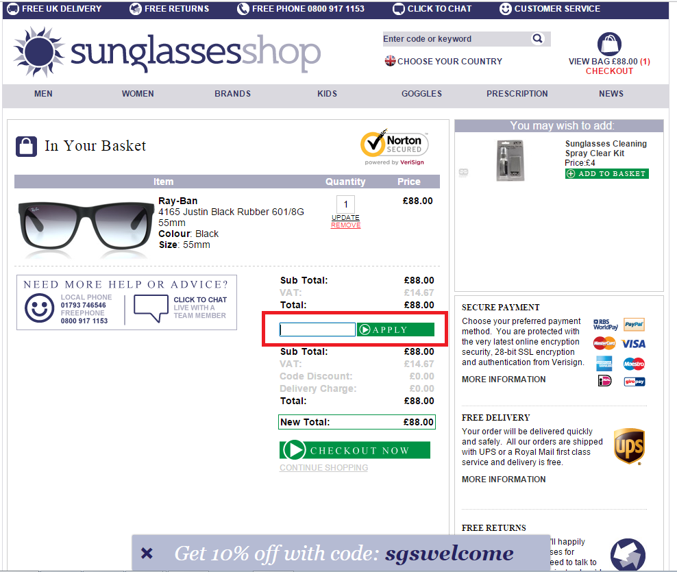 How to use a Sunglasses Shop coupon