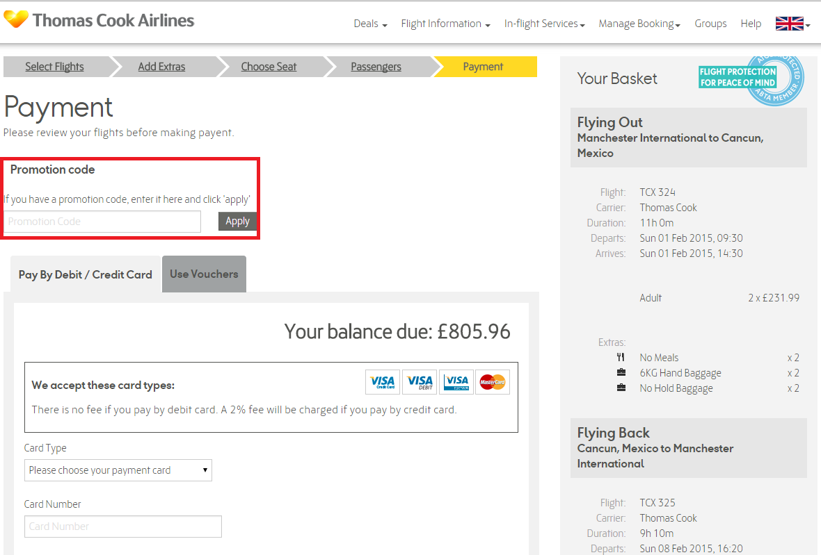 How to use a Thomas Cook Airlines coupon