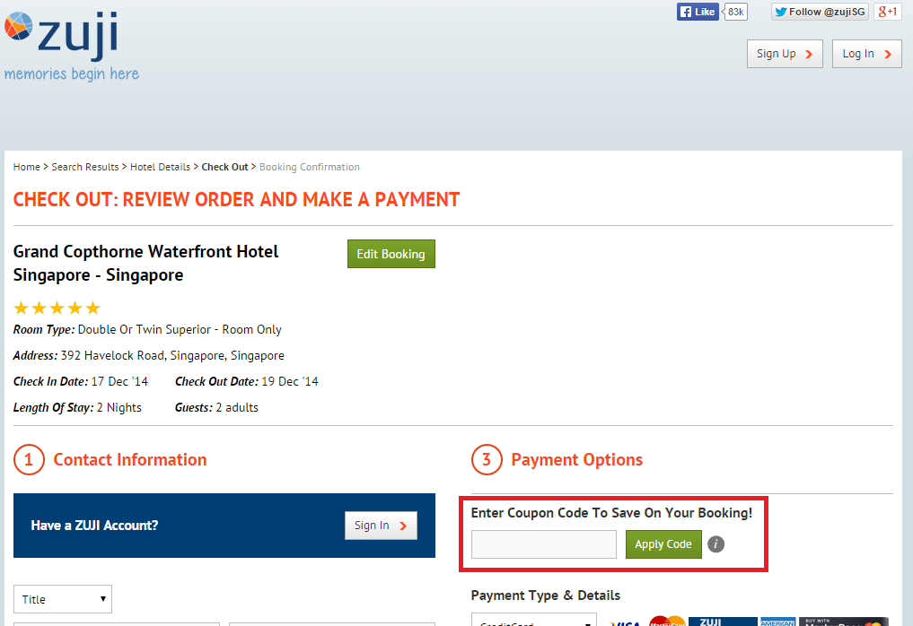 How to use a Zuji Voucher Codes