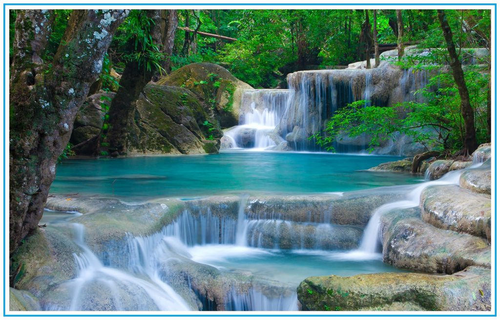 seven tiers of Waterfall, erawan waterfall, thailand